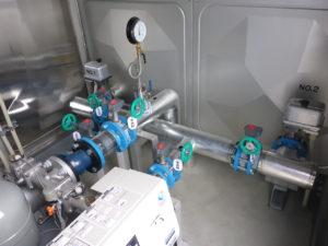 受水槽ポンプ室配管施工完了
